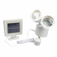 Black Newest Super Bright Double Lamp Outdoor Solar Power Light PIR Motion Sensor Security PV Panel