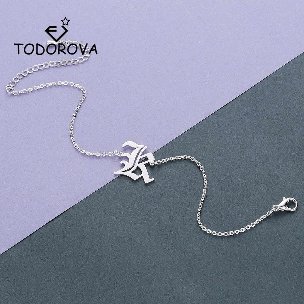 Todorova Simple Capital Initial Alphabet Bracelet Personalized Old English Letter Charm Bracelet Gifts for Men Name Jewelry