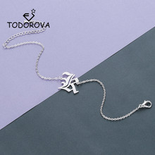 Todorova Simple Capital Initial Alphabet Bracelet Personalized Old English Letter Charm Br
