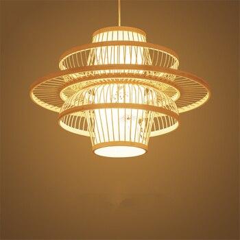 Chinesische Bambus Kunst Takraw Anhänger Lichter LED Küche Esszimmer & Bar Anhänger Lampen Vintage Schlafzimmer Wohnzimmer Studie Leuchten Avize