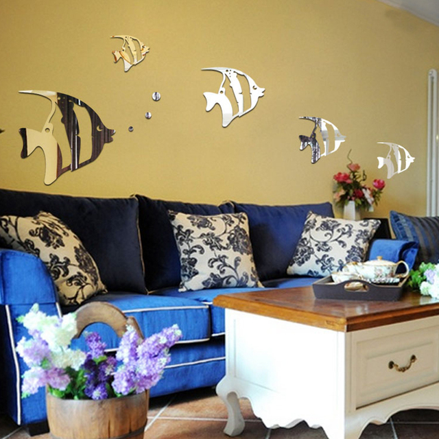 New arrival wall decals fish pattern mirror wall sticker acrylic ...
