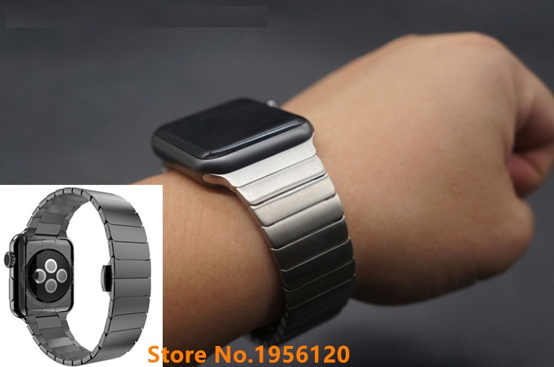 GOOSUU Link Bracelet for Apple Watch Band Stainless Steel Band with 1:1 Original Butterfly Clasp Watchband for iwatch 38mm 42mm genuine leather watchband alligator grain for iwatch apple watch 38mm 42mm stainless steel butterfly clasp band strap bracelet