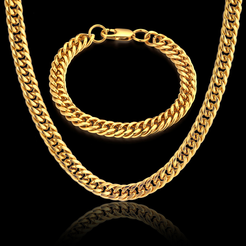 Jewelry Sets Necklaces & Bracelets Wholesale 8MM 2017 New Punk Gold Color Stainless Steel Women Men Linked Chain