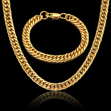Jewelry Sets Necklaces & Bracelets Wholesale 8MM 2017 New Punk Gold Color Stainless Steel Women Men Linked Chain(China)
