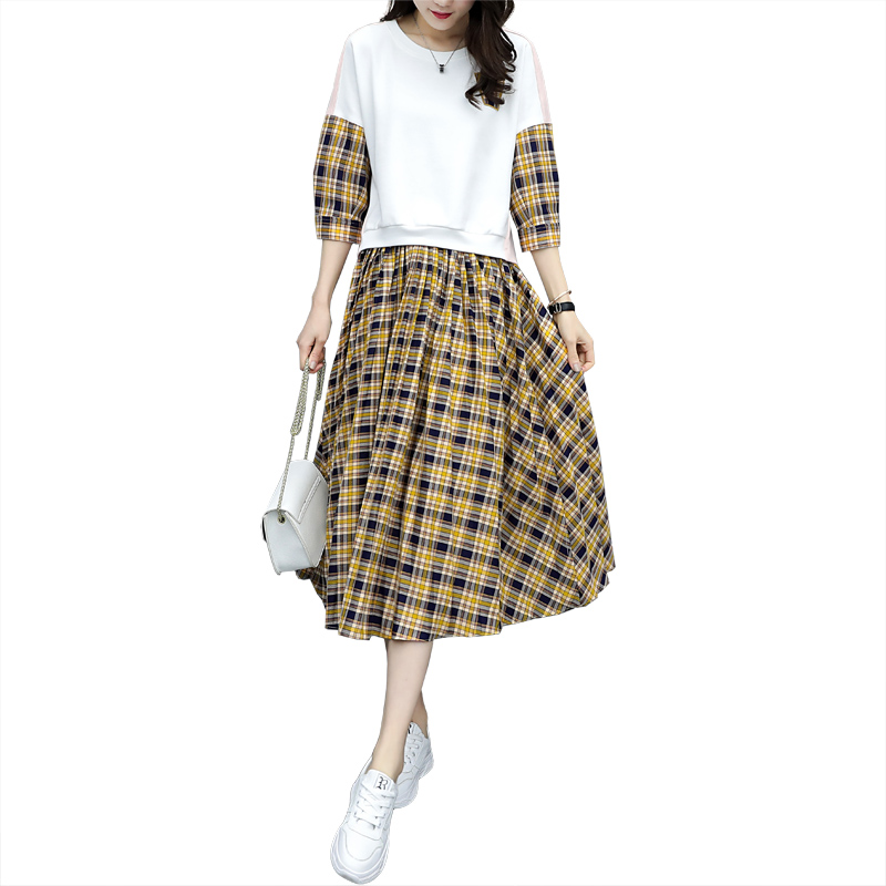 Spring Plaid Two Piece Sets Women Sweatshirt Tops And Pleated Skirt Sets Suits Casual Korean Female Women's Sets Costumes 2019 30