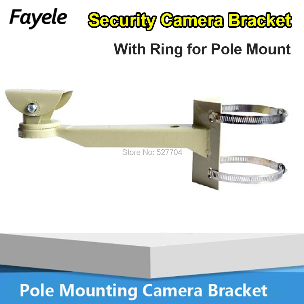 CCTV Universal Pole Mounting Bracket holder Arm Base for Security Bullet Camera support clamp With Ring For Pipe Lam Post Mount free shipping universal metal white wall mount stand bracket for cctv security camera