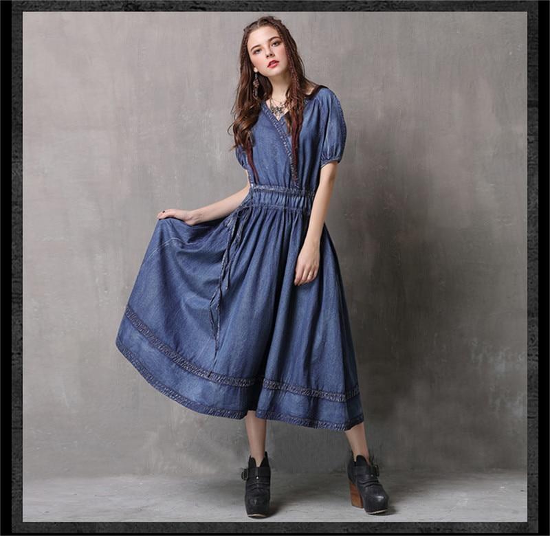 Adjustable Waist Summer Dresses 2019 Vintage Denim Women V-Neck Dress Hollow out  Lantern Sleeve Swing Hem Vestidos (11)
