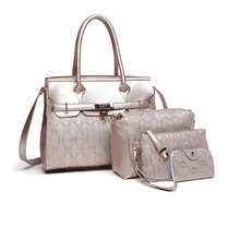 2017 fashion quality brand women handbag 4 sets solid artificial leather tote bag large shoulder bags