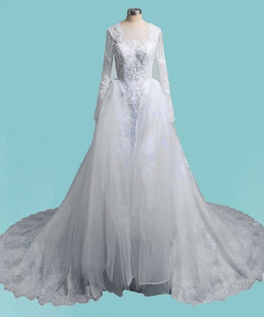 Luxury Long Sleeve Mermaid Lace Wedding Dresses 2 in 1 With ...