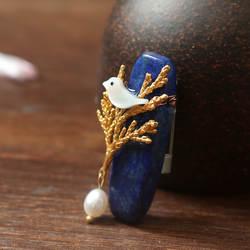 Amxiu индивидуальные натурального брошь с лазуритом Handmadel натуральный жемчуг Shell ювелирные изделия для Для женщин аксессуары маленькая