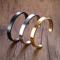 Fashion Couple Bangle Brief Design Stainless Steel Cuff Bang for Women and Men Gold Silver Black Color Alliance Bracelet