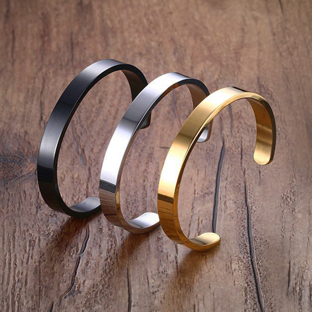 Fashion Couple Bangle Brief Design Stainless Steel Cuff Bang for Women and Men G