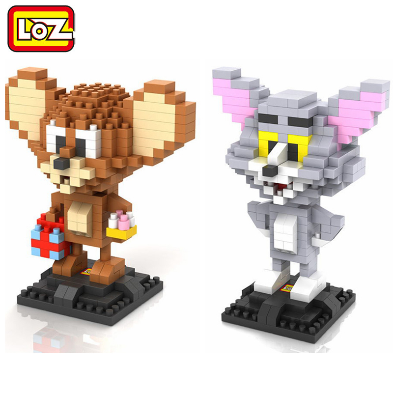 LOZ Tom & Jerry Cat and Mouse Diamond Building Blocks DIY 3D Mini Nano Bricks Assembled Block Toys Children Education Toys loz diamond blocks figuras classic anime figures toys captain football player blocks i block fun toys ideas nano bricks 9548
