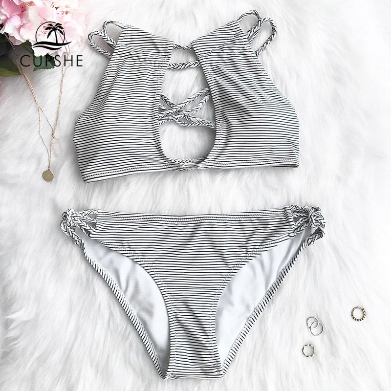 цена CUPSHE Love More Stripe Bikini Set Women Cut Out Cross Halter Padding Thong Bikini Swimwear 2018 Beach Sexy Bathing Swimsuits