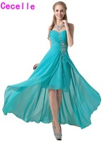 2018 Real High Low Bridesmaid Dresses Sweetheart Turquoise Short Front Long Back Beach Country Wedding Bridesmaid Party Dress