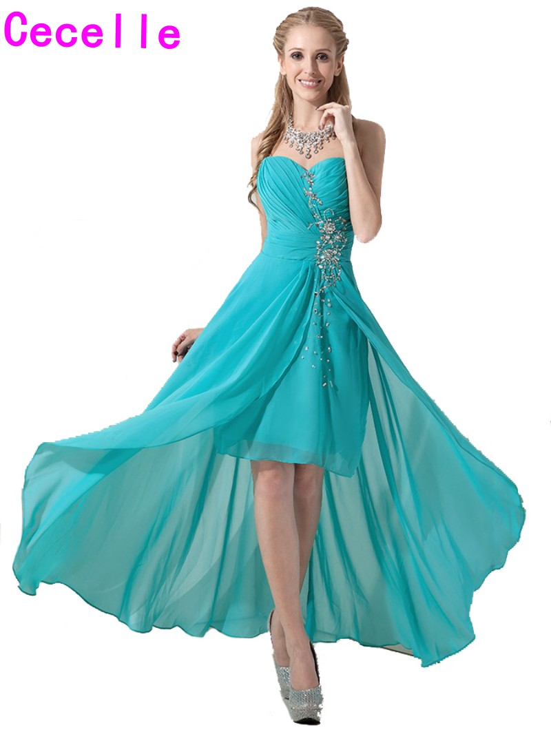 2019 Real High Low   Bridesmaid     Dresses   Sweetheart Turquoise Short Front Long Back Beach Country Wedding   Bridesmaid   Party   Dress