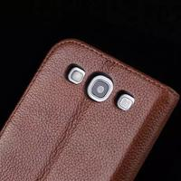 Luxury Real Genuine Leather Wallet Case For Samsung Galaxy S3 I9300 S3 Duos I9300i SIII Neo