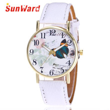 Sunward Relogio Feminino Saat Clock Ladies Watch Horloge Butterfly Sample Leather-based Band Analog Quartz Vogue Wrist Trend 17Might15