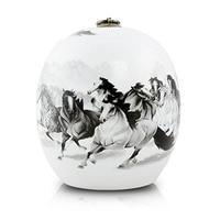 Large Pet Urn Keepsake Ashes 16x19cm Ceramic Cremation Urn for Human Ashes Adult Handup White 8 Horses Engraving Sold Separately