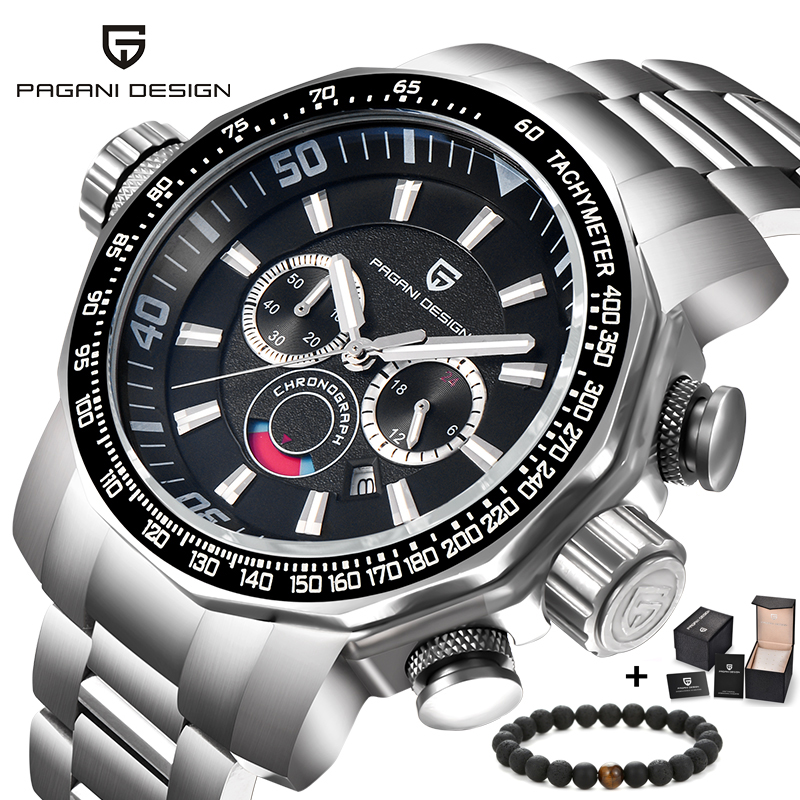 PAGANI Design Men Watches Luxury Top Brand Mens Full Stainless Steel Watch Military Army Chronograph Analog Quartz Wrist watch mens watches top brand luxury cadisen military sport quartz chronograph watch men waterproof full stainless steel wrist watch