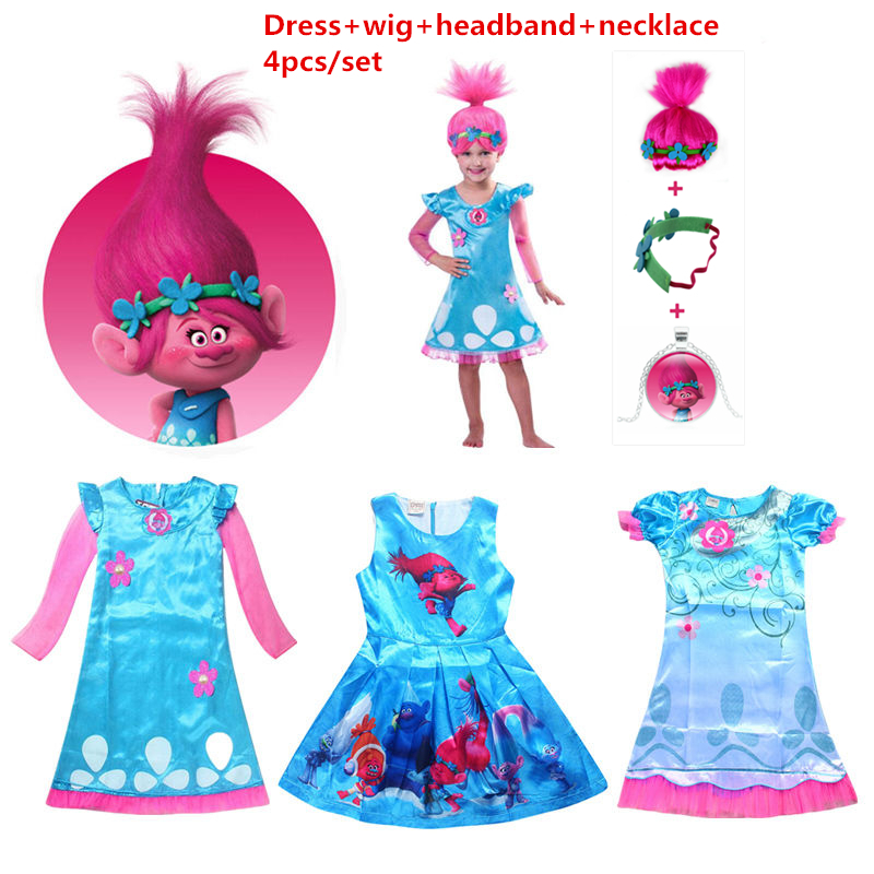 Girls Dresses Trolls Poppy Cosplay Costumes Dress For Girls Bobo Choses Streetwear Halloween Clothes Kids Fancy Dress Girl Wig superhero halloween costume for girls cosplay performance dance show fancy costumes girls clothing children suit dress for girl