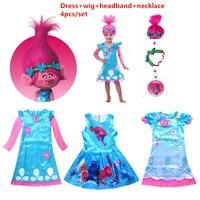 Girls Dresses Trolls Poppy Cosplay Costumes Dress For Girls Bobo Choses Streetwear Halloween Clothes Kids Fancy