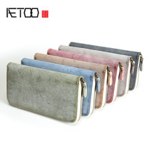 цена на AETOO Handmade handbag men's leather wallet long section new tide men's hand grab bag leather clip zipper youth clutch bag