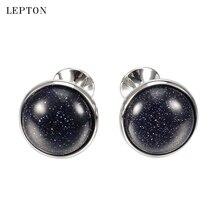 hot deal buy lepton blue sand stone cufflinks for mens low-key luxury blue spot stone cufflinks mens shirt cuffs cuff links relojes gemelos