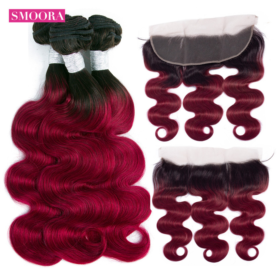 Body wave ombre Burgundy hair bundle with frontal