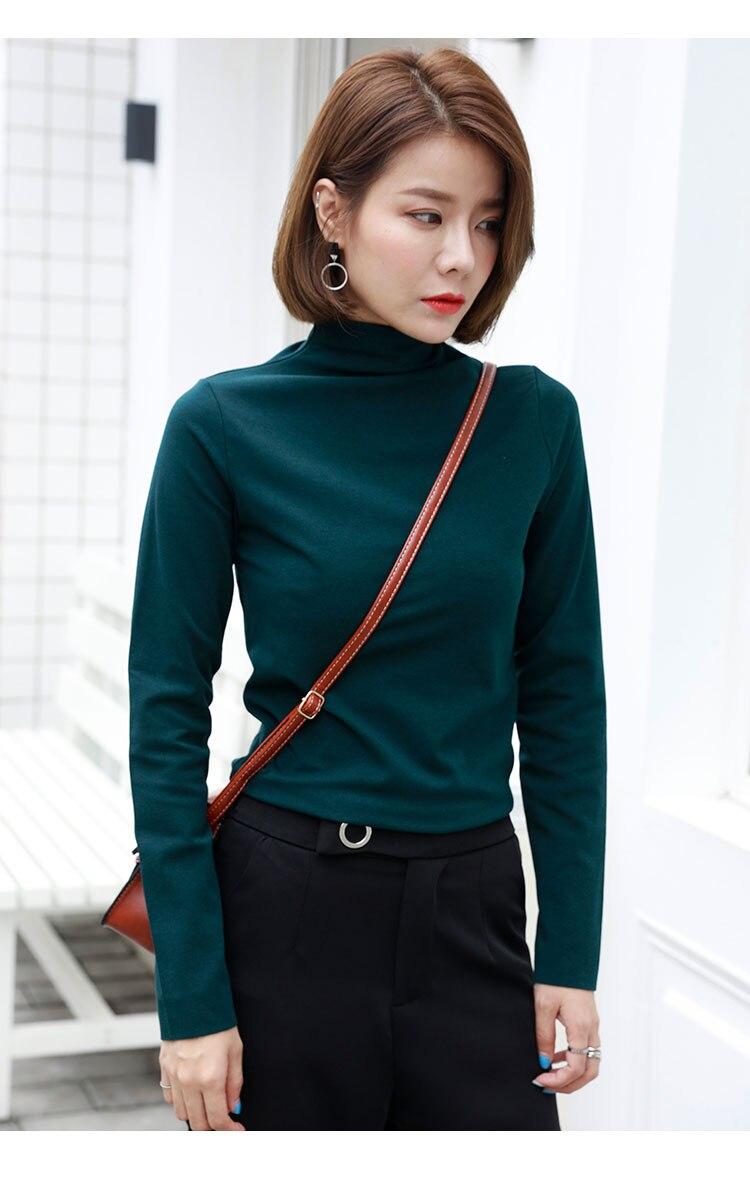 Baumwolle halb hohen kragen lange ärmeln T-shirt damen 2018 herbst neue Koreanische stil dünne jacke, klar, reine farbe hemd.
