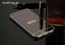 Chapeamento de luxo Espelho de Metal de Alumínio Bumper PC + Acrílico 2 em 1 caso para htc one a9 5.0 polegadas capa capa pará Fundas