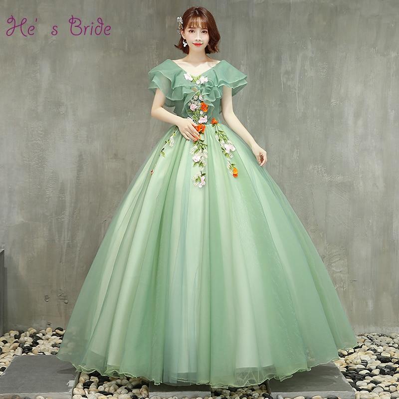He s Bride New Candy Color Prom Dress Lotus Leaf Edge Short Sleeve V neck Applique
