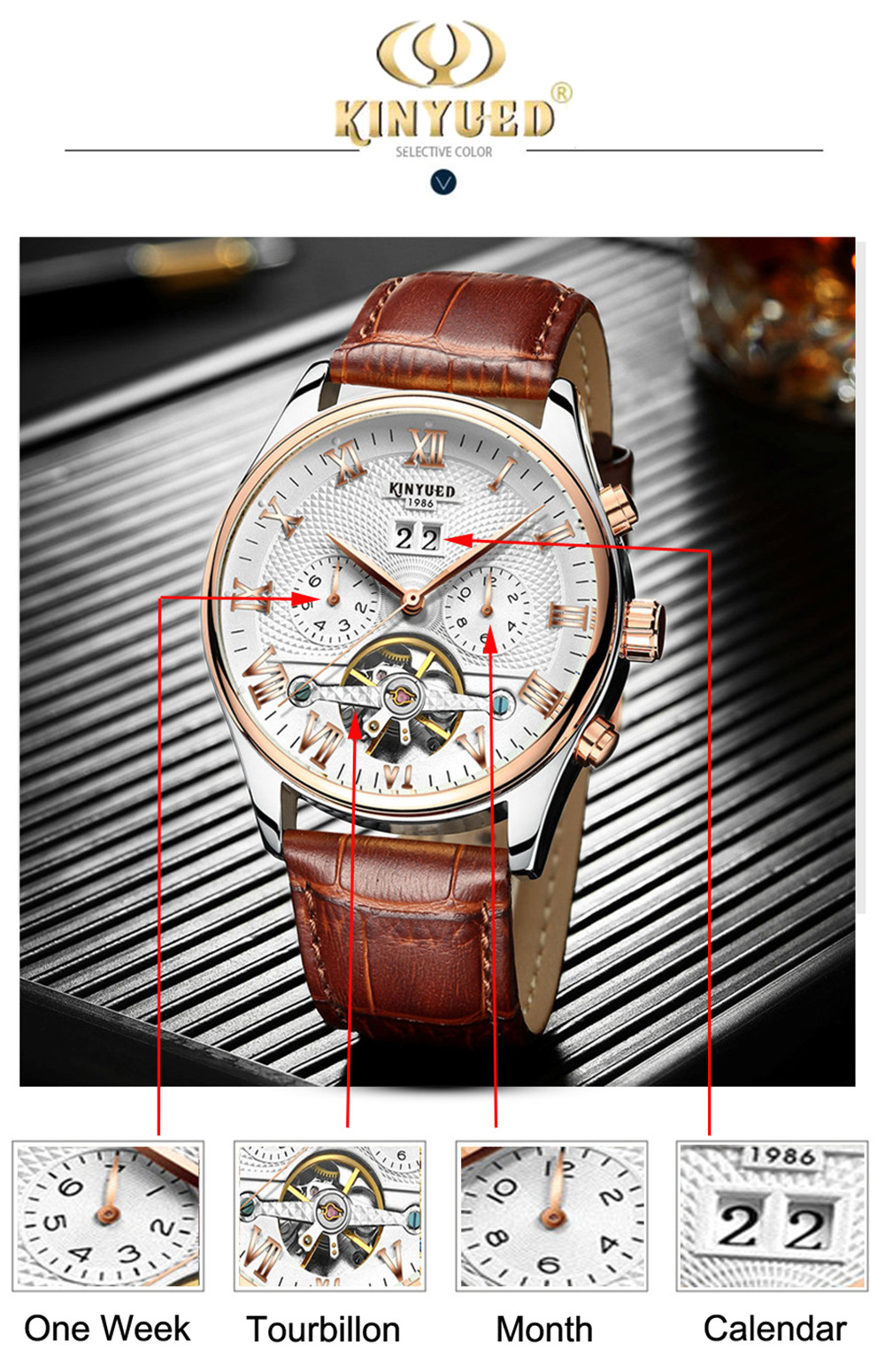 HTB1vTX6dBKw3KVjSZFOq6yrDVXa0 KINYUED 2019 Skeleton Tourbillon Mechanical Watch Automatic Men Classic Rose Gold Leather Mechanical Wrist Watches Reloj Hombre