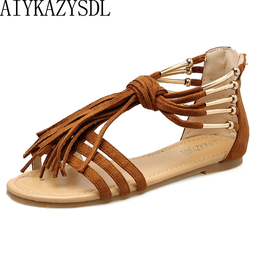 AIYKAZYSDL 2018 Summer Flat Heel Sandals Open Toe Shoes Women Fringe Tassel  Strappy Metallic Bohemian Ethnic Sandals Rome Shoes a51bf4b64e