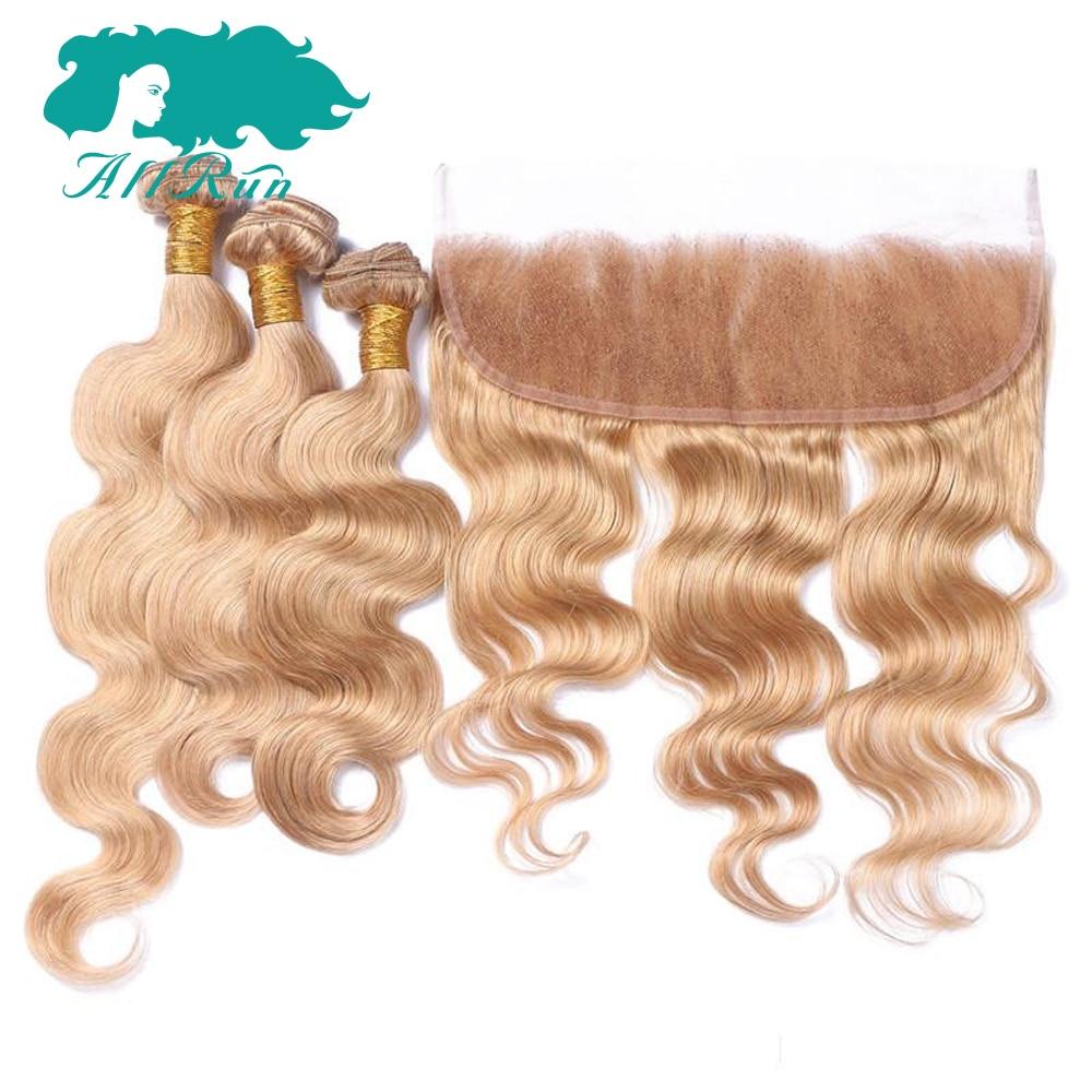 Allrun предварительно Цветной 27 # Волосы Remy Малайзии Средства ухода за кожей волна с Синтетический Frontal шнурка волос Лидер продаж 3 Связки с 13x4 С...