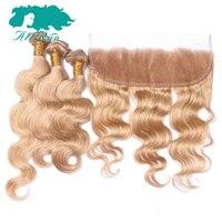 Allrun מראש בצבע 27 # שיער רמי גל גוף מלזי עם תחרה חם למכור 3 חבילות עם סגירת 13x4 חזיתי בלונד אדם שיער