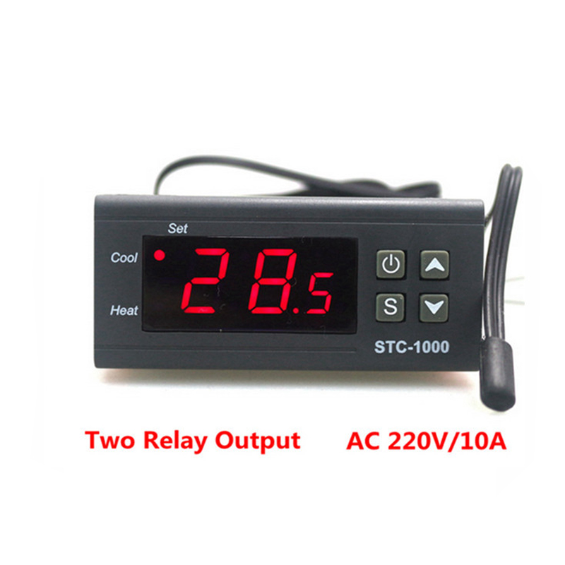 Two Relay Output LED Digital <font><b>Temperature</b></font> <font><b>Controller</b></font> Thermostat Incubator STC-1000 110V <font><b>220V</b></font> 12V 24V <font><b>10A</b></font> with Heater and Cooler image