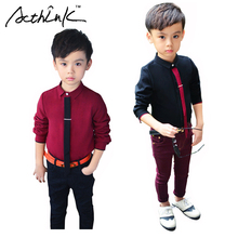 ActhInK Boys Formal Solid Cotton Dress Shirt with Necktie Brand Boys England Style Wedding Shirts Kids