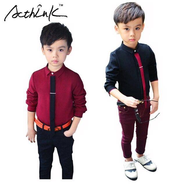 11179345f0eed ActhInK Formal de los muchachos de algodón camisa de vestir con corbata marca  niños Inglaterra estilo