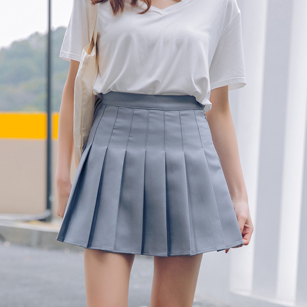 Preppy Style Women Fashion Summer high waist pleated skirt  Slim Waist Wind Cosplay skirt kawaii Female Mini Skirts Short Under