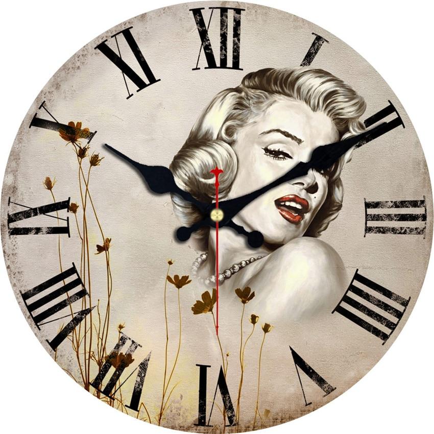 Canvas Wall Clock Design : Marilyn monroe wall clock woman design fashion silent
