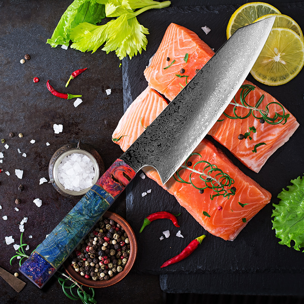 XITUO 8 Inch Cleaver Knife Japanese Damascus Stainless Steel PRO Cooking Tools Chef Kitchen Knife Damascus Meat Salmon Slicing k
