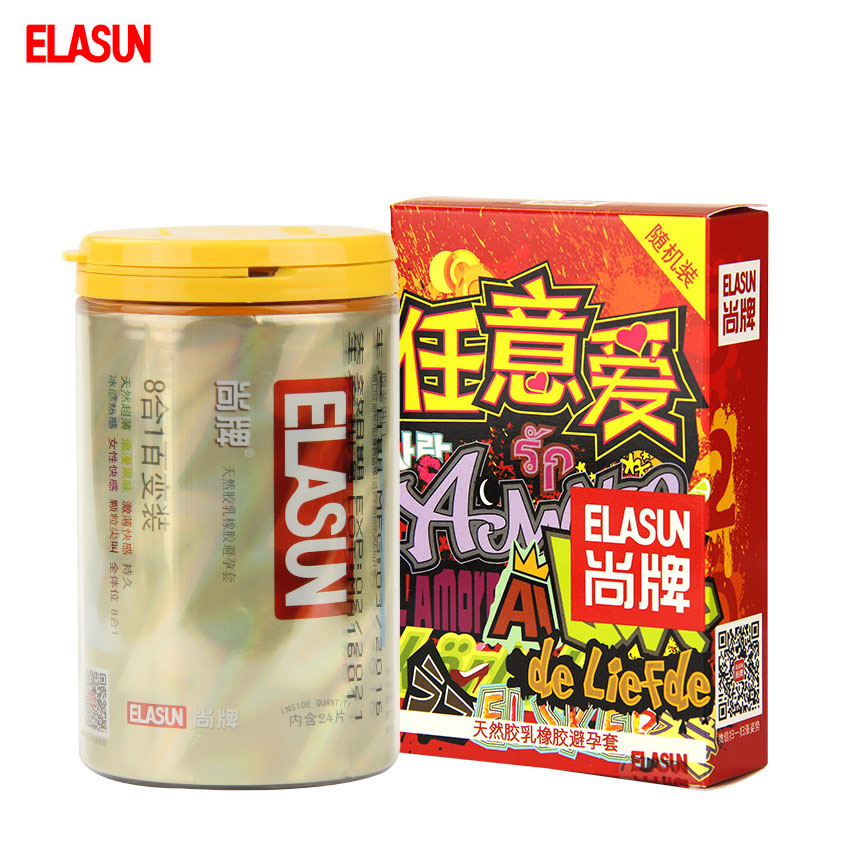 ELASUN 40 pcs 9 Types Ultra Thin Ice and Fire Dotted Double Lubricated font b Condom