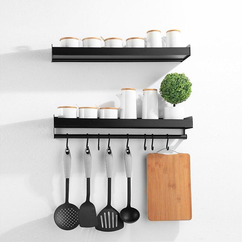 壁マウントスパイスラックアルミキッチンオーガナイザー収納棚器具スプーンハンガーフックキッチンガジェットアクセサリー用品