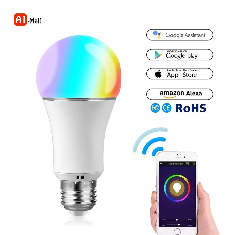 Smart Remote Control Night Light WiFi Smart LED Light Bulb Compatible for Alexa and google E27 7W Bulb RGB Multi Color Dimmable