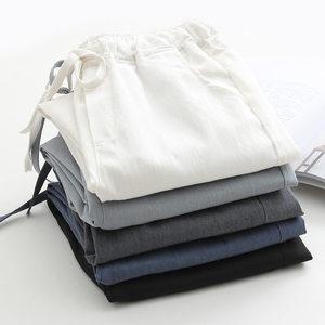 Image 2 - 2020 אביב קיץ כותנה פשתן הרמון מכנסיים נשים שרוך גבוהה מותניים מכנסיים נשים מכנסי קזואל טרנינג Pantalon C4216