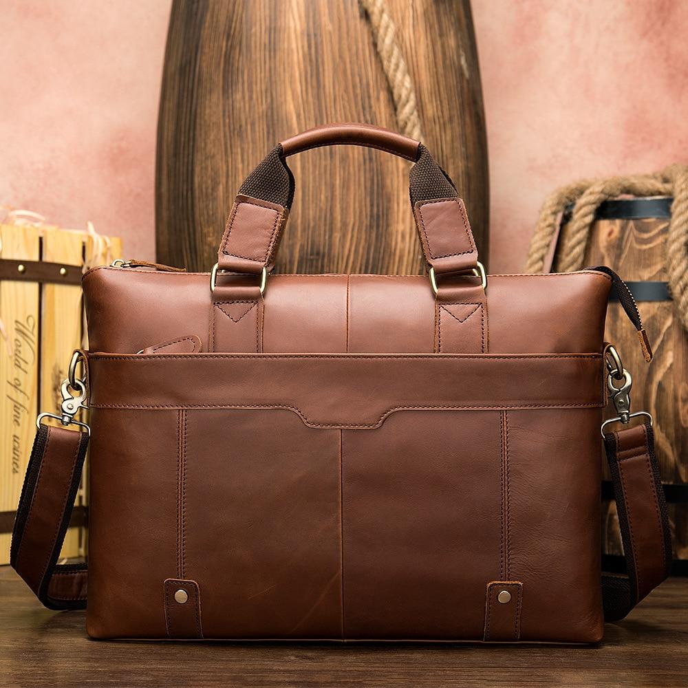 MVA Messenger Bag hommes sacs à bandoulière en cuir pochette d'ordinateur 14 pouces en cuir véritable hommes sacs pour Document travail sacs à main fourre-tout 7108