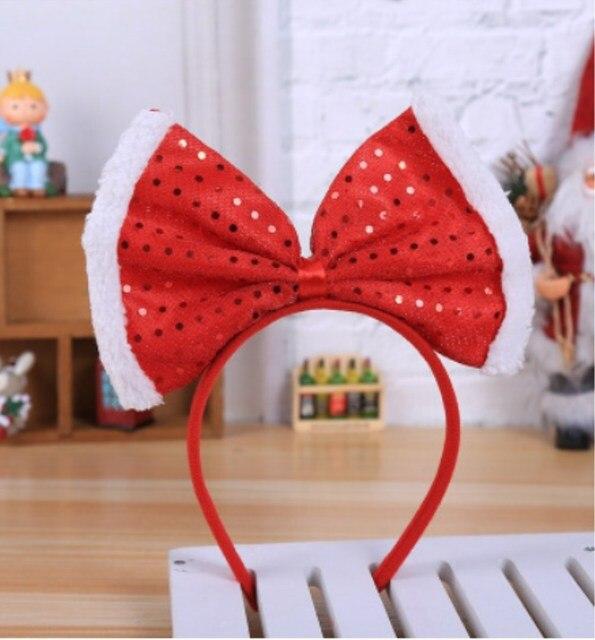 c180e809f32d7 New Christmas Big Bowknot Headband Hat Fancy Dress Hat Reindeer Antlers Santa  Xmas Kids Adult Headwear Caps Party