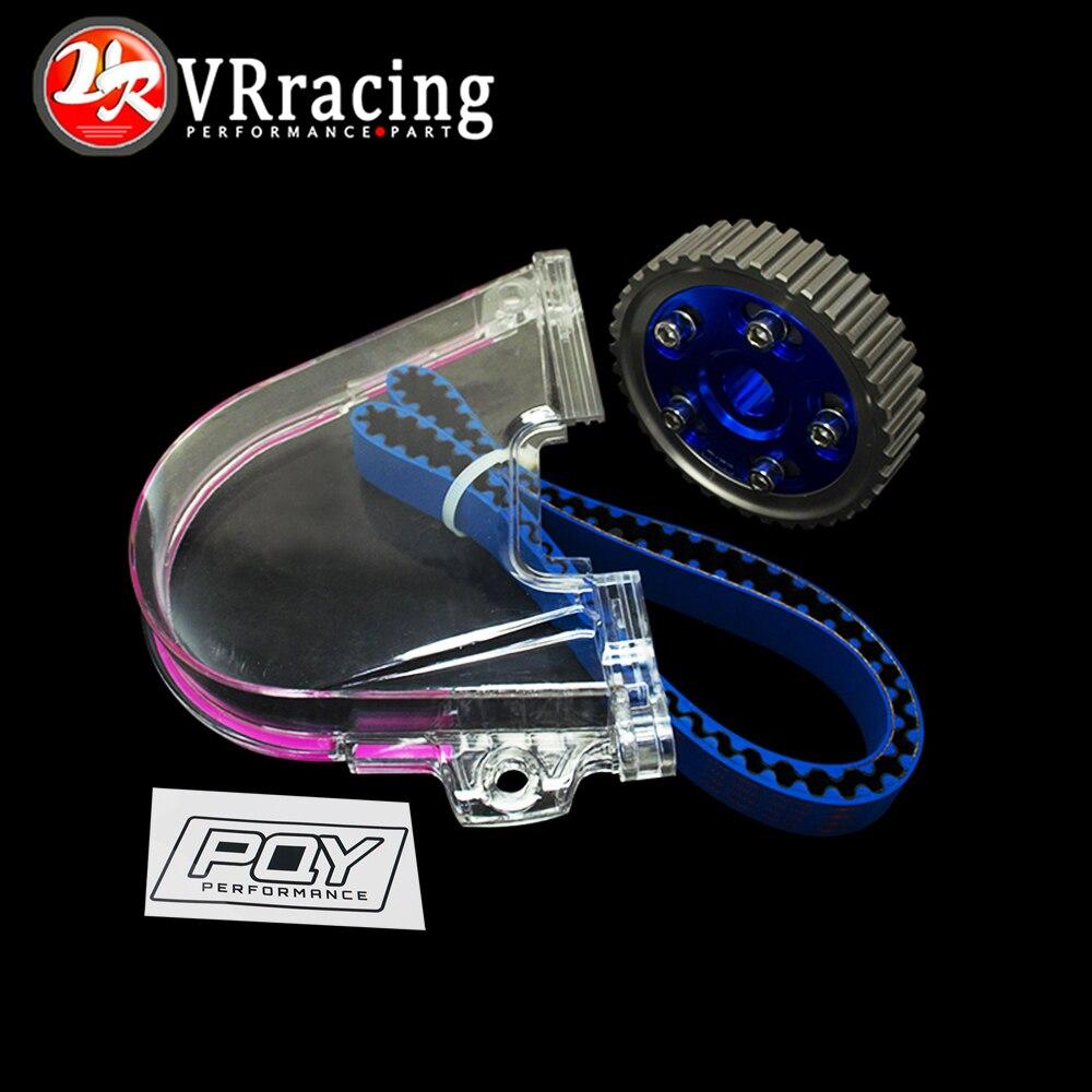 VR RACING - HNBR Racing Timing Belt + Aluminum Cam Gear + PQY Cam Cover FOR 92-00 Civic D16Z D16Y VR-TB1002B+6542B+6337