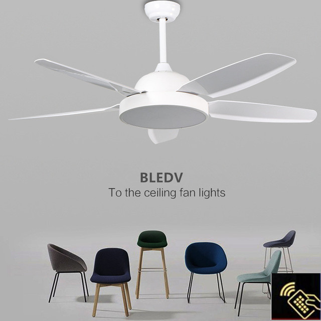 Luxury american creative 5 leaves ceiling fans nordic simple led remote control fan lights